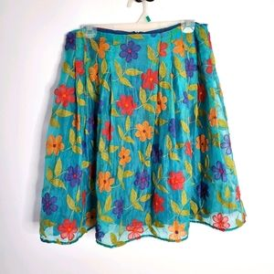 100% silk colourful floral skirt by Barbeau